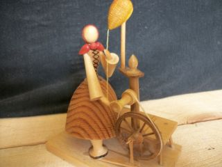 This Is All Wood With A Lady On A Spinning Wheel Made In Poand By S.  Sitarski photo