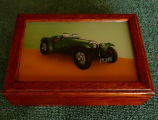 Vintage Walnut Playing Card Box ~ Vintage Car ~ photo