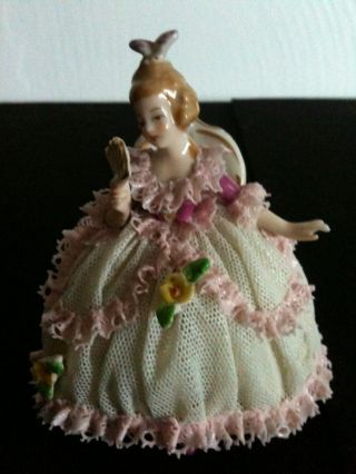Vintage Dresden Made In Germany Lace Porcellain Figurine photo