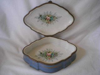 Antique Sevres Lozenge Shaped Box ~ Gilded,  Hand Painted Florals Inside photo