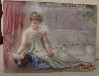 Porcelain Plaque Hand Painted By Anna Lappe,  June 1898; Kpm Style 11