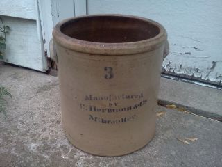 Primitive 1800 ' S Vintage Herman Co Milwaukee 3 Gallon Salt Glaze Crock Antique photo