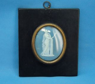 C1800s Framed Jasperware Classical Lady Figure Oval Plaque photo