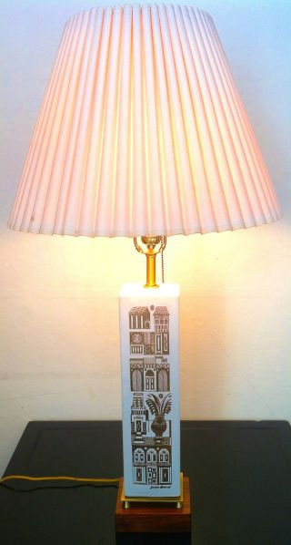 Monumental Mid Century Georges Briard Hyalyn Midas Table Lamp For Lightolier photo