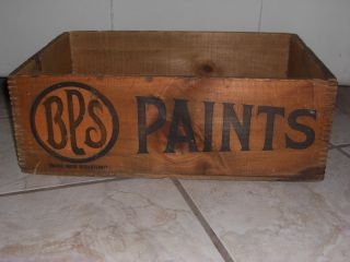 Vtg Bps Paints Wooden Box B.  P.  S.  (best Paint Solid) Antique Wood Crate 48 Hf.  Pts photo