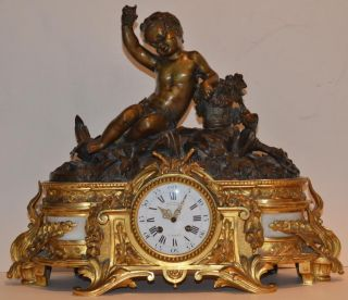 Deniere Cailleaux Dore Bronze & Marble Mantle Clock With Large Cherub A Beauty photo