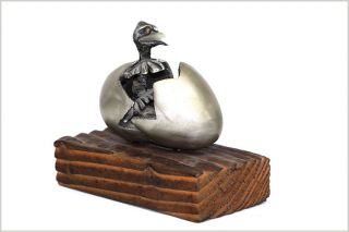 Unique Buzzard Bird Hatching From Egg Vintage Metalware Art Piece /