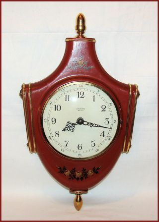 German 1962 Junghans Unusual Ato - Mat 7 Jewels Wooden & Brass 14.  5  Wall Clock photo