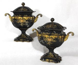 Pair 19thc Antique 1820s Empire Tin Tole Toleware Urns Gilt Decorations Nr photo