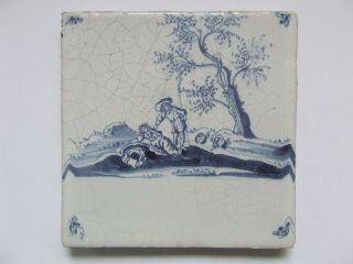 A Pastorale Delft Tile With Silvio And Dorinda +++++++++++++ photo