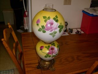 Old Vintage Gone With The Wind Lamp,  Solid & Complete,  Hand Painted photo