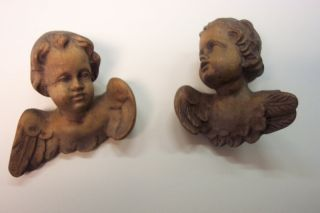 Vintage,  Carved,  Wooden Angel Heads And Wings,  German,  Set Of 2 photo