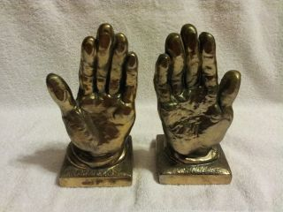 Praying Hands Brass Bookends Antique Heavy Decorative Art Old Good Looking Felt photo