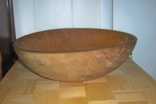 Antique Wooden Dough Bowl,  Handmade From 1 Piece Of Wood,  15