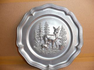 Antique French Pewter Plate Charger Doe & Fawn photo