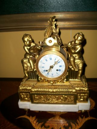 Circa 1750 Etienne Lenoir Gilt Bronze Mantle Clock photo