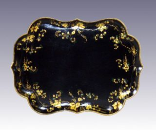 English Shaped Papier Mache Tray W/ Floral Decoration,  C.  1860,  Stand Available photo