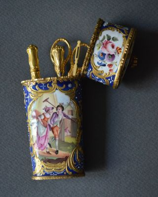 Rare 18th French Etui Sewing Kit Enamel Copper Landscape Figures Gilding Brass photo