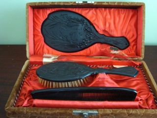 Antique Gutta Percha Vanity Set In Box photo