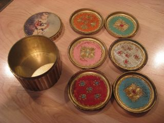 Vintage Set Of 6 Italian Florentine Tole Coasters In Storage Holder - photo