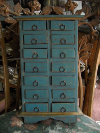 Vintage Traditional Primitive Wooden Box With 14 Drawers Spice Box Notions Teal photo