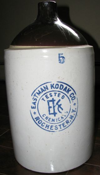 Rare Antique (1912) Eastman Kodak 5 Gallon Chemical Stoneware Jug Crock - Handle photo