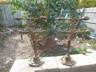 2 - Antique/vintage Brass Shield Candlestick Lamps photo