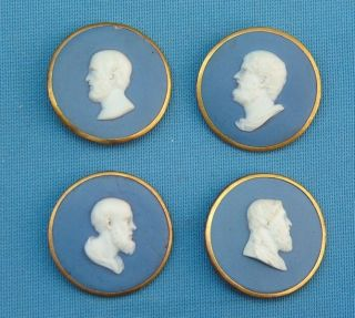 4 C1800 Jasperware Portrait Cameo Medallions Mounted As Cloak Buttons photo