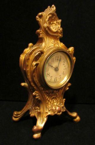 Antique French Louis Xv Rococo Art Nouveau Style Gilt Metal Desk Mantel Clock photo
