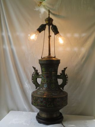 Antique Japanese Cloisonne Champleve Enamel Bronze Enamel Huge 15
