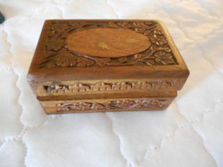 Roccoco Carved Wooden Box With Gilt Swirls On Oval Insert On Lid - 6 X 4 X 3