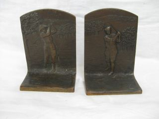 Judd Bronze Bookends - Golfers,  Lady & Gentleman,  Bobby Jones Era 1923 - 1930 photo
