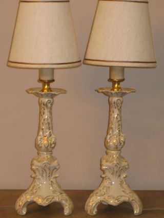 2pc.  Pair Vintage Porcelain With Gold Hand Engraving Table Lamps With Shade photo