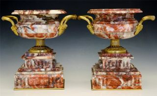 Pair C1840 French Gilt Bronze Mounted Rouge Marble Urns Louis Philippe Period Nr photo