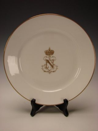 Antique French Sevres Porcelain Napoleon Iii Armorial Service Dinner Plate photo