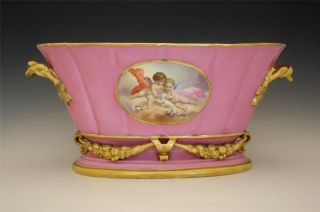 19c French Old Paris Porcelain Cache Pot Hand Painted W/ Cherubs photo
