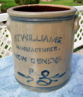Antique Rt Williams New Geneva Pa Stoneware Crock 3 Gallon Blue Decorated Crackd photo