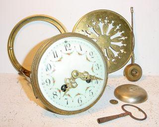 Antique French Clock Movement C 1900 Cream Enamel Dial N°73// Hole:4.  21