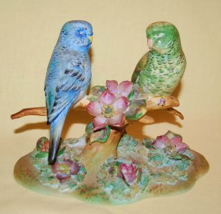 Vintage Japan Porcelain Ceramic Pottery Lovely Pair Parakeets Bird Figurine photo