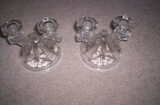 Gorgeous Vintage Crystal Candelabras Duel Candle Holderls photo