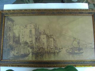 Antique John Drescher Co,  Inc.  Ny Print Of Romantic Venice By Arthur V.  Diehl photo