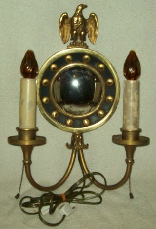 Vintage/antique Brass Double Candelabra Wall Sconce Lamp W/eagle & Mirror photo