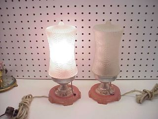 Pair Art Deco Clear Colored & Frosted Glass Boudoir Lamps photo