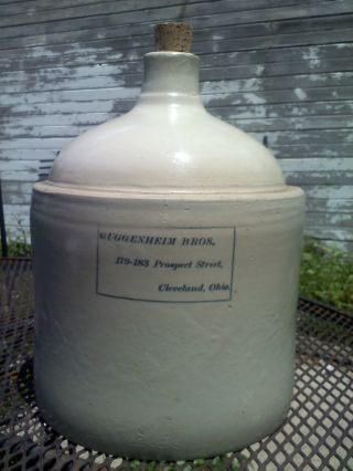 Antique Stoneware Whiskey Jug - Guggenheim Bros Prospect Street,  Cleveland,  Ohio photo