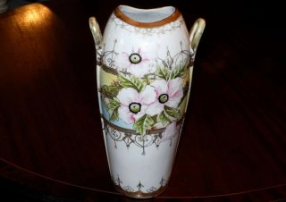 Art Nouveau C1900 Nippon Hand Painted Pink Flowers & Gold 12