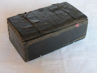 Primitive Miniature Dollhouse Wood Steamer Trunk Box Dovetail Hinged Black Paint photo