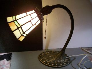 Antique Aladdin Shell Art Deco Desk Lamp W/leaded Glass Shade,  1920s photo
