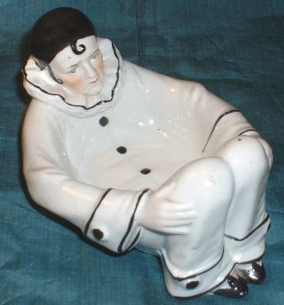 Antique Sitzendorf German Porcelain Art Deco French Pierrot Clown Pin Dish Hold photo