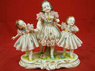 Antique Volkstedt Lace Dressed Three Sisters Porcelain Figurine photo