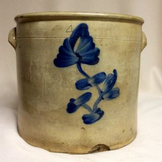 Antique Stoneware: 19thc.  4gal.  Crock W/ Spectacular Brushed Cobalt Floral,  Nr photo